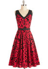 Shake, Rockabilly, and Roll Dress - Cotton, Woven, Long, Red, Black, Buttons, Belted, Casual, A-line, Sleeveless, Better, V Neck, Novelty Print, Party, Rockabilly, Vintage Inspired, 50s