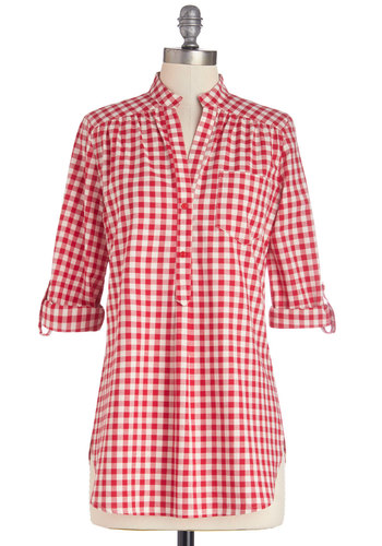 Bonfire Stories Tunic in Red Gingham - Red, White, Checkered / Gingham, Buttons, 3/4 Sleeve, Spring, Good, Red, Tab Sleeve, Variation, Pockets, Casual, Cotton, Long, Woven, Cover-up, Summer, Americana, Press Placement