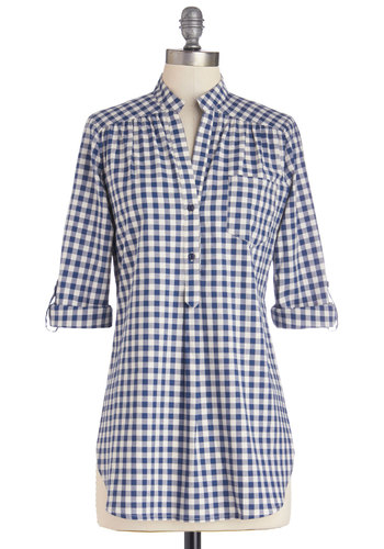 Bonfire Stories Top in Blue Gingham - Blue, White, Checkered / Gingham, Buttons, Casual, 3/4 Sleeve, Spring, Better, Variation, Blue, Tab Sleeve, Pockets, Cotton, Long, Woven