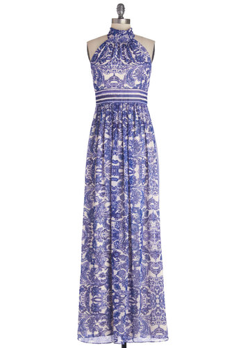 A Classy of Its Own Dress - Chiffon, Woven, Blue, White, Print, Maxi, Halter, Best, Beach/Resort, Special Occasion, Prom, Spring