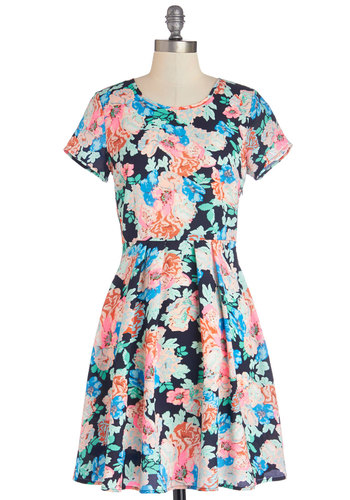 Just Glow with It Dress - Woven, Mid-length, Multi, Floral, Casual, A-line, Short Sleeves, Good, Scoop, 90s