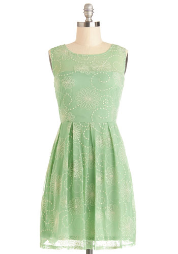 Crisp Morning Air Dress - Bridesmaid, Mint, Embroidery, Pleats, Special Occasion, Prom, Wedding, A-line, Sleeveless, Better, Scoop, Sheer, Knit, Mid-length, Spring, Pastel, Green