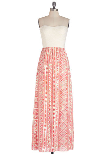 Cruising Along the Gulf Dress - Knit, Woven, Long, Mixed Media, Red, White, Print, Cutout, Casual, Maxi, Strapless, Good, Sweetheart, Lace, Beach/Resort