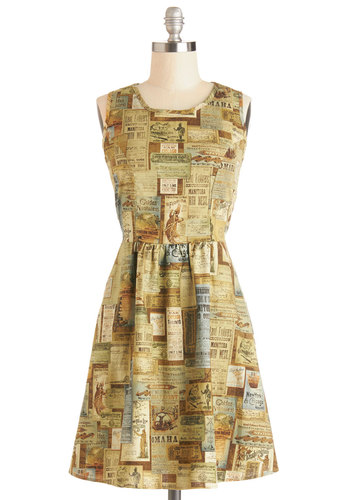 Rustic Road Trip Dress - Cotton, Woven, Mid-length, Multi, Print, Cutout, Pockets, Casual, Travel, A-line, Sleeveless, Better, Scoop, Tan / Cream, Vintage Inspired