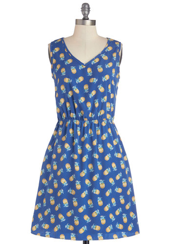 Perfect Pina Coladas Dress - Blue, Novelty Print, Pockets, Casual, Fruits, A-line, Sleeveless, Better, V Neck, Woven, Mid-length, Yellow, Spring, Show On Featured Sale