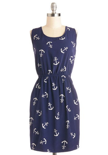 Hooked on Haute Dress - Blue, White, Novelty Print, Pockets, Casual, Nautical, A-line, Sleeveless, Good, Scoop, Woven, Chiffon, Mid-length