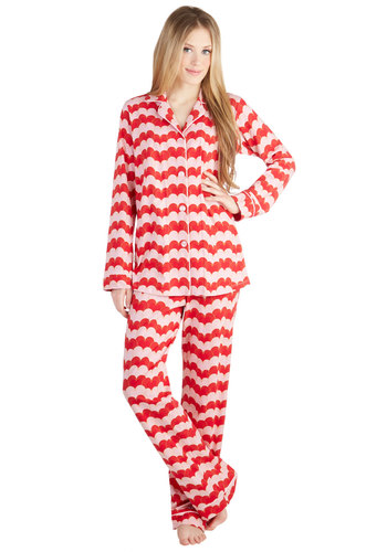 Cozy to My Heart Pajamas by BedHead - Cotton, Knit, Red, Pink, Novelty Print, Buttons, Valentine's, Long Sleeve, Collared