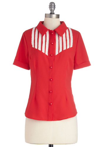 Beloved Barista Top by Bea & Dot - Private Label, Woven, Sheer, Mid-length, Red, White, Solid, Lace, Valentine's, Vintage Inspired, Short Sleeves, Spring, Exclusives, Red, Short Sleeve, Buttons, Work, 40s, 50s, Collared, Lace, Americana