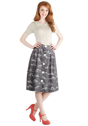Shore to Shore Skirt by Bea & Dot - Cotton, Woven, Long, Grey, Buttons, Work, Casual, Vintage Inspired, 50s, Better, Grey, White, Novelty Print, Pockets, A-line, Exclusives