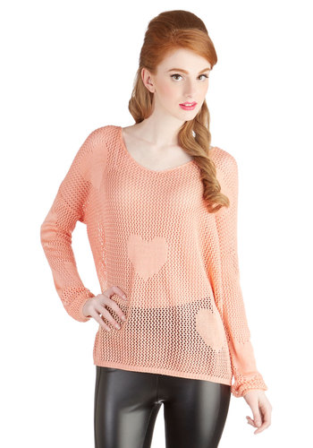 Sweetheart to Heart Sweater - Sheer, Knit, Woven, Mid-length, Pink, Knitted, Valentine's, Pastel, Long Sleeve, Pink, Long Sleeve, Good, Casual, Scoop, Beach/Resort