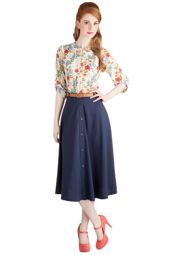 Classy Trip Skirt - Midi, Better, Blue, Woven, Blue, Solid, Buttons, Belted, Work, Casual, Vintage Inspired, 50s, 40s, A-line, Long, Fall, Top Rated