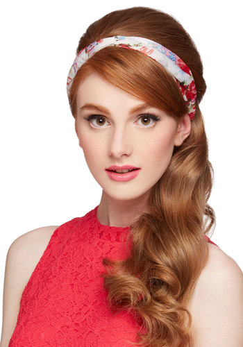 Graceful Oasis Headband in Fresh Bouquets - White, Pink, Floral, Spring, Summer, Good, Chiffon, Sheer, Woven, Pink