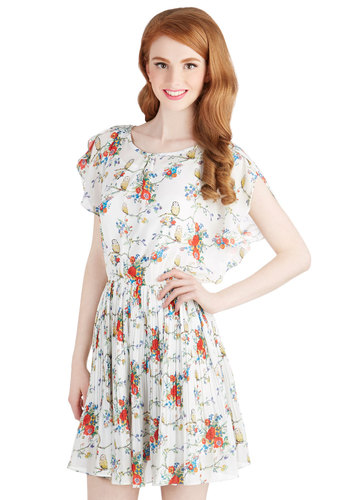 Place to Perch Dress - Sheer, Woven, Mid-length, Print with Animals, Casual, A-line, Cap Sleeves, Better, Scoop, Floral, Pleats, Owls, Spring, Multi, Red, Yellow, Green, Blue, White, Critters, Bird, Woodland Creature