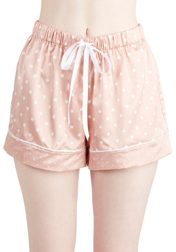 Rose Oil Lullaby Sleep Shorts - Woven, Satin, Pink, White, Polka Dots, Vintage Inspired, Pastel