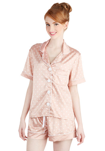 Rose Oil Lullaby Sleep Top - Satin, Woven, Pink, White, Polka Dots, Buttons, Pockets, Vintage Inspired, Pastel, Short Sleeves, Collared