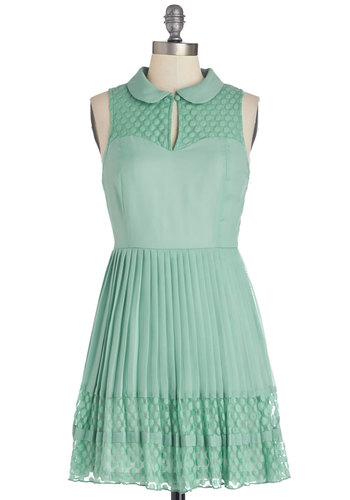 Fashionably Date Dress - Chiffon, Woven, Short, Mint, Solid, Peter Pan Collar, Pleats, Casual, Vintage Inspired, A-line, Sleeveless, Good, Collared, Spring