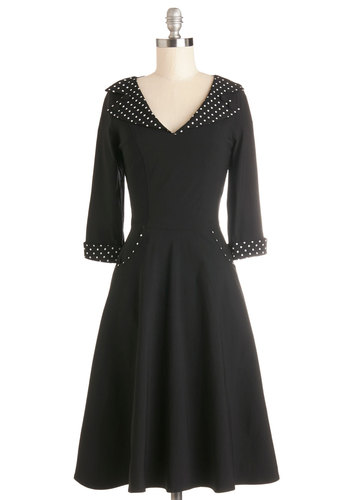 Steel Guitar the Show Dress - Black, White, Buttons, Casual, A-line, 3/4 Sleeve, Better, V Neck, Solid, Pockets, Vintage Inspired, 50s, Long