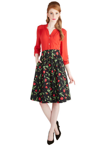 Flair for the Fantastic Skirt in Poppy by Bea & Dot - Cotton, Woven, Long, Black, Red, Green, Floral, Pockets, A-line, High Waist, Exclusives, Variation, Private Label, Better, Black, Spring, Work