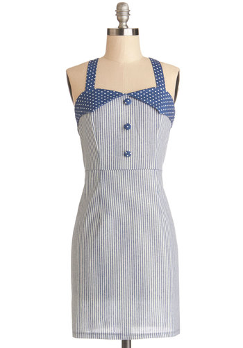 Car Show the Ropes Dress - Woven, Short, Blue, White, Stripes, Buttons, Casual, Sheath / Shift, Good, Sweetheart, Polka Dots, Rockabilly, Pinup, Vintage Inspired, 50s, Sleeveless, Nautical, Spring, Summer