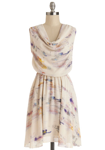 Dabbling with Designs Dress - Chiffon, Woven, Mid-length, Cream, Multi, Print, Party, A-line, Sleeveless, Better, Cowl