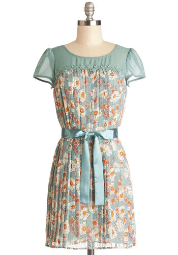 Aunt Hardly Wait Dress - Chiffon, Sheer, Woven, Short, Blue, Multi, Floral, Belted, Casual, A-line, Cap Sleeves, Good, Scoop, Spring