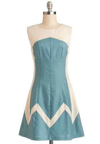 Party on the Peak Dress - Woven, Mid-length, Blue, Party, A-line, Sleeveless, Better, Tan / Cream, Vintage Inspired, 60s