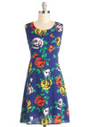 Rose Without Saying Dress - Woven, Mid-length, Blue, Multi, Floral, Buttons, Casual, A-line, Sleeveless, Better, Scoop
