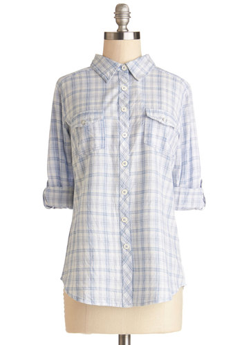 Hello Sunshine Top - Cotton, Woven, Mid-length, Blue, White, Plaid, Buttons, Casual, Long Sleeve, Spring, Good, Collared, Blue, Tab Sleeve, Pockets