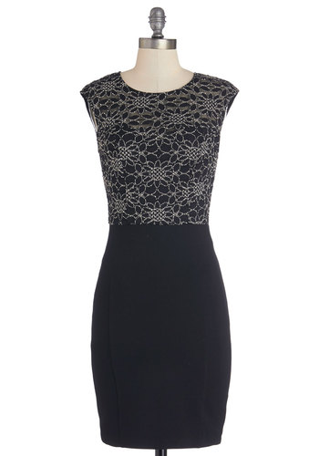 Ravishing Repeat Dress - Mid-length, Black, Silver, Bodycon / Bandage, Good, Scoop, Party, Cap Sleeves