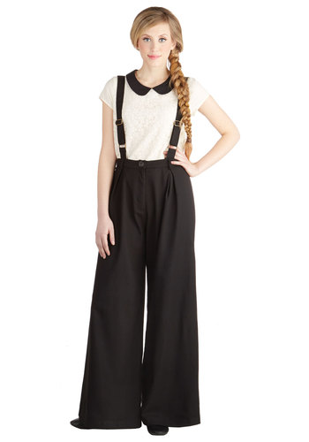 Conference Room Coffee Pants in Black - Black, Solid, Work, Menswear Inspired, Vintage Inspired, Wide Leg, Suspender, Better, High Rise, Full length, Black, Non-Denim, Variation, Fall, High Waist, Top Rated