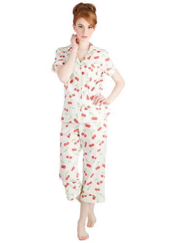 Flavorful Dreams Pajamas - Cotton, Woven, White, Red, Green, Novelty Print, Buttons, Fruits, Cropped, Short Sleeves, Collared