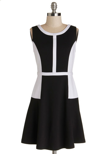 Illustration Intern Dress by Jack by BB Dakota - Black, White, Casual, Colorblocking, A-line, Sleeveless, Better, Scoop, Knit, Mid-length, Work