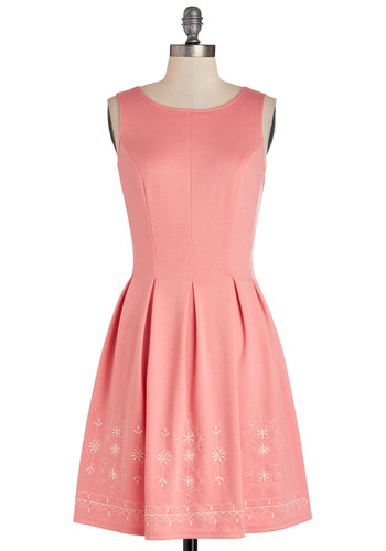Seaside Sorbet Dress - Wedding, Bridesmaid, Pink, Solid, Embroidery, Pleats, Daytime Party, A-line, Sleeveless, Good, Scoop, Pastel