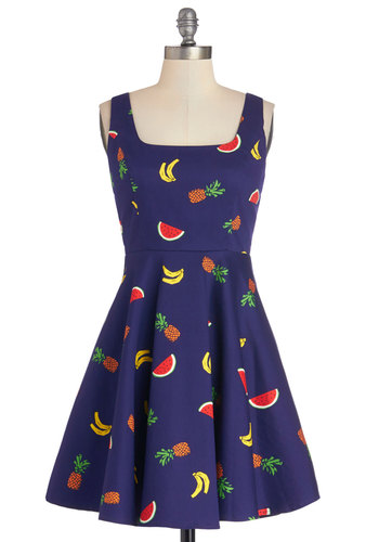 Cutest of the Fruit Dress - Blue, Multi, Novelty Print, Casual, Fruits, Tank top (2 thick straps), Scoop, Woven, Spring, Short, Summer