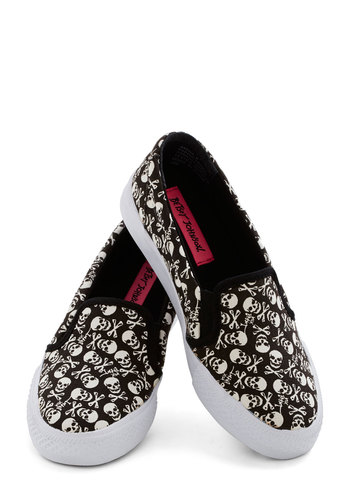 Betsey Johnson Skull Me Anytime Sneaker by Betsey Johnson - Black, White, Casual, Better, Low, Woven, Novelty Print, Halloween, Urban, Skulls