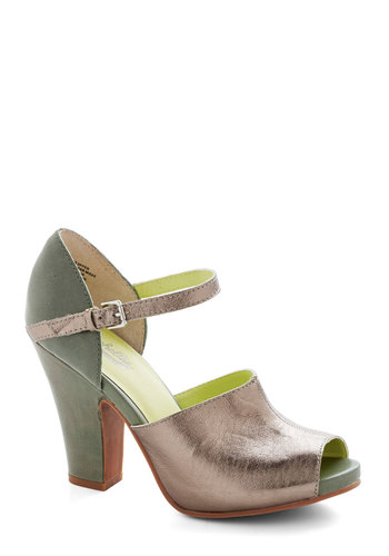 Face the Music Heel in Olive by Seychelles - Green, Silver, Special Occasion, Party, High, Best, Leather, Solid, Variation