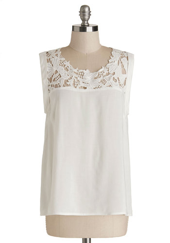 Going Out for a Spin Top - Good, White, Sleeveless, Mid-length, Sheer, White, Solid, Crochet, Daytime Party, Sleeveless, Scoop, Spring, Summer