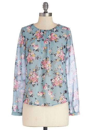 Give Me a Speckle Top in Floral - Sheer, Woven, Blue, Pink, Floral, Buttons, Work, Daytime Party, Long Sleeve, Spring, Good, Variation, Blue, Long Sleeve, Multi, Mid-length
