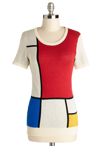 Put Your Art Into It Sweater - Knit, Mid-length, Multi, Red, Blue, White, Colorblocking, Short Sleeves, Better, Multi, Short Sleeve, Yellow, Print, Exclusives, Scoop
