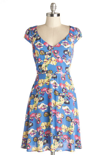 Sightsee for Yourself Dress - Woven, Mid-length, Blue, Multi, Floral, Casual, A-line, Cap Sleeves, Good, Exposed zipper, Spring