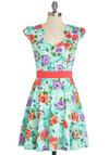 Flowers on End Dress in Sky - Mint, Floral, Daytime Party, A-line, Cap Sleeves, Good, Knit, Mid-length, Multi, Casual, Variation, Spring