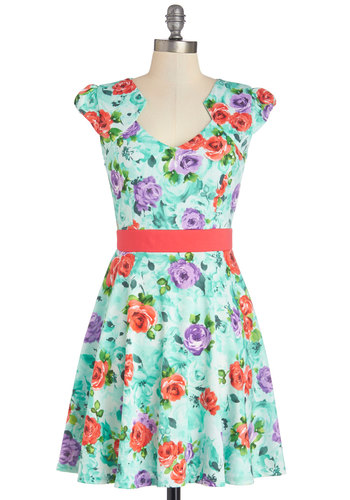 The Story of Citrus Dress in Sky Blossom - Mint, Floral, A-line, Cap Sleeves, Good, Knit, Multi, Casual, Variation, Spring, Mid-length