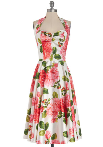 Whisper Smoothly Dress - Satin, Woven, Long, Pink, Floral, Daytime Party, A-line, Halter, Better, Sweetheart, Multi, White, Vintage Inspired, 50s, Valentine's, Spring, Show On Featured Sale
