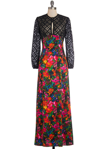 All Over Gown Dress - Sheer, Knit, Woven, Long, Multi, Floral, Lace, Maxi, Long Sleeve, Best, Vintage Inspired, 70s, Statement, Special Occasion, Luxe