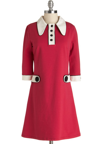 Vinyl Fantasy Dress in Strawberry - Knit, Red, Black, White, Buttons, Casual, Mod, Shift, 3/4 Sleeve, Better, Collared, Vintage Inspired, 60s, Variation, Mid-length