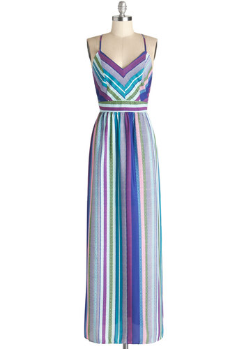 Arise and Shine Dress - Chiffon, Woven, Long, Multi, Stripes, Casual, Maxi, Spaghetti Straps, Good, V Neck, Backless, Beach/Resort