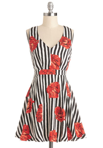 Beloved Bloom Dress - Multi, Stripes, Floral, A-line, Sleeveless, Better, V Neck, Daytime Party, Woven, Short, Backless