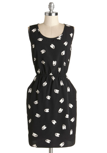 Call It a Night Out Dress - Black, White, Novelty Print, Pockets, Casual, Quirky, A-line, Sleeveless, Good, Scoop, Woven, Mid-length, Chiffon
