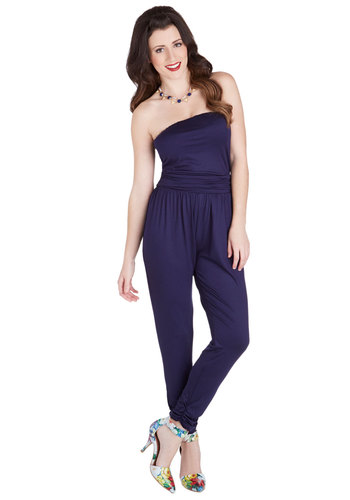 Jumpsuit Right In - Knit, Long, Jersey, Blue, Solid, Girls Night Out, Vintage Inspired, 90s, Good, Full length, Blue, Non-Denim, Jumpsuit, Ruching, Strapless, Strapless