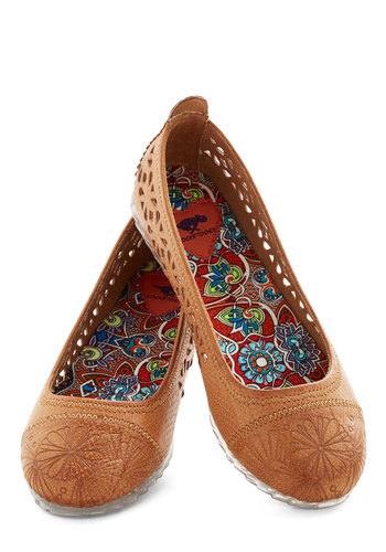 Day for Yourself Flat - Flat, Faux Leather, Tan, Solid, Cutout, Embroidery, Folk Art, Good, Casual, Boho